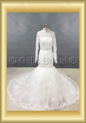 Alencon lace Net Tulle First-class satin(To395#Satin) custom maker expensive cost factory mermaid Monarch Royal High Collar long sleeve Crystals Rhinestone Applique appliqued Embroidery beaded Beading - Wholesale dresses for weddings the wedding dress wed