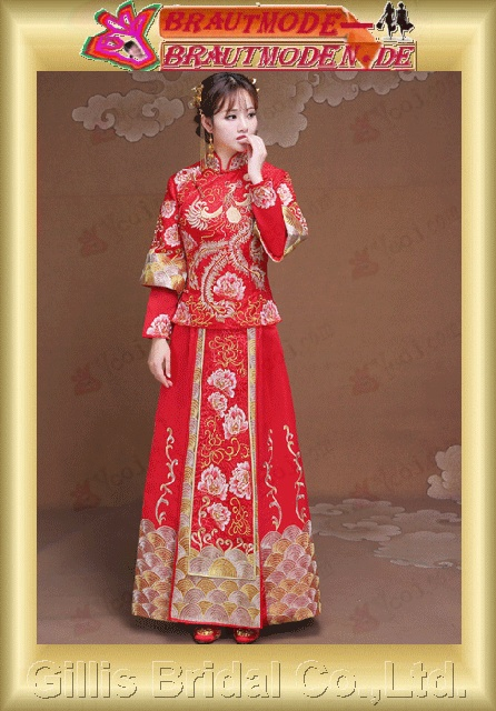 gillis0643 The new show Wo clothing bride dress wedding dress clothes to take Chinese red toast clothes show kimono dress gown Longfeng coat