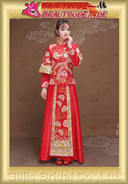gillis0645 The new show Wo clothing bride dress wedding dress clothes to take Chinese red toast clothes show kimono dress gown Longfeng coat