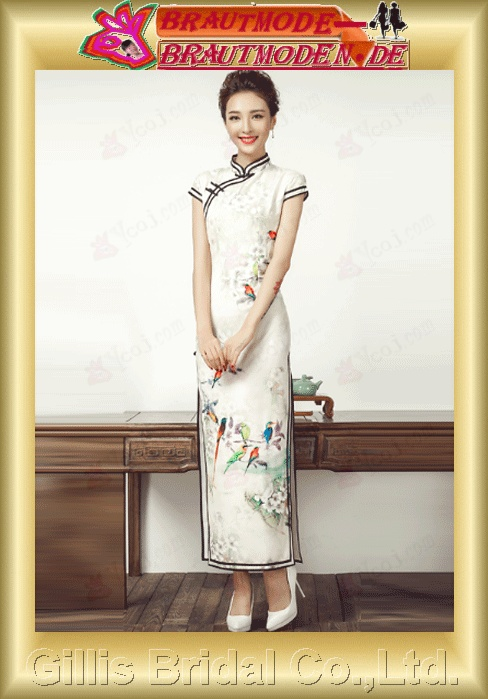 gillis0978 Cheongsam long section of autumn double-decked retro banquet performance dress dress Slim cheongsam dress female