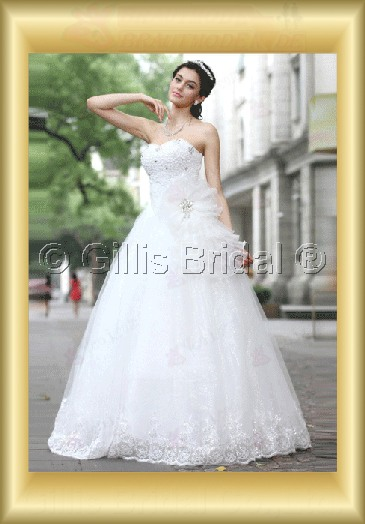 wedding dress bridal gown evening Prom Strapless Beading embroidery Flower Handcraft flowers Handmade Flower bandage strapless Floor length 100003