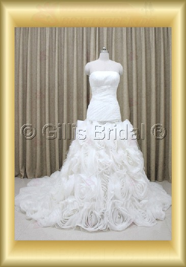 wedding dress bridal gown evening Prom Strapless pleated ruffle Fold beads Embroidery beaded Beading embroidery Monarch Royal 100110