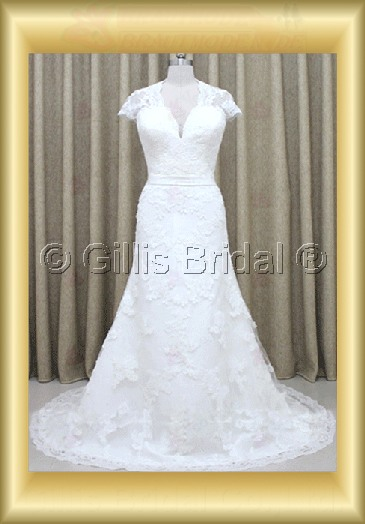wedding dress bridal gown evening Prom Alencon lace sleeve Short sleeve Sweep Brush Exquisite 100153