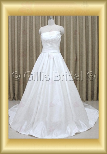 wedding dress bridal gown evening Prom Strapless pleated ruffle Fold Sweep Brush Exquisite 100155