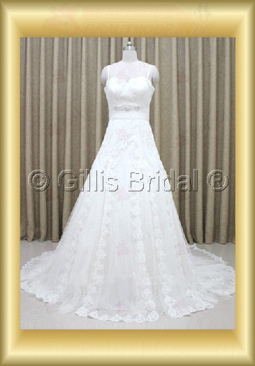 wedding dress bridal gown evening Prom Spaghetti strap beads Embroidery beaded Beading embroidery Sweep Brush Exquisite 100156