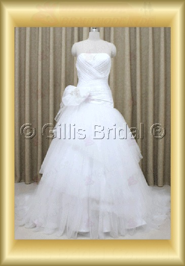 wedding dress bridal gown evening Prom pleated ruffle Fold Flower Sweep Brush Exquisite 100159