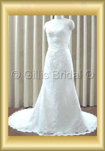wedding dress bridal gown evening Prom Strapless Applique appliqued appliques Sweep Brush Exquisite 100196