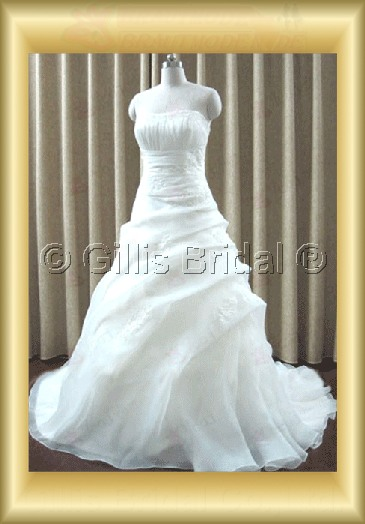 wedding dress bridal gown Strapless pleated ruffle Fold Applique appliqued appliques strapless Sweep Brush Exquisite 100202