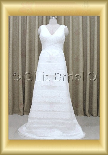wedding dress bridal gown Spaghetti strap pleated ruffle Fold Sweep Brush Simple 100206