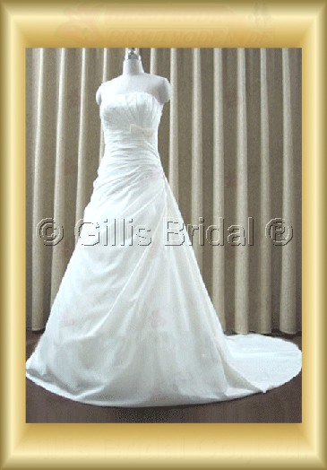 wedding dress bridal gown Strapless pleated ruffle Fold Bowknot Bows Monarch Royal Exquisite 100207