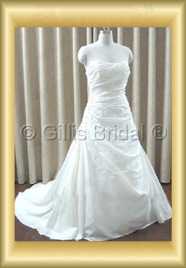 wedding dress bridal gown Strapless pleated ruffle Fold Applique appliqued appliques Exquisite 100208