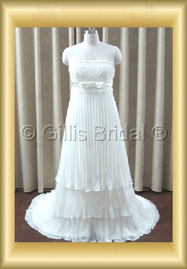 wedding dress bridal gown Strapless Sweep Brush Bowknot Bows Exquisite 100209