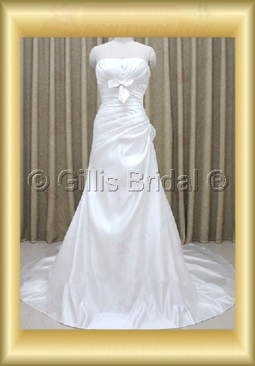 wedding dress bridal gown pleated ruffle Fold Bowknot Bows Exquisite 100211