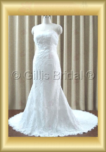 wedding dress bridal gown Strapless Alencon lace Monarch Royal Simple 100214