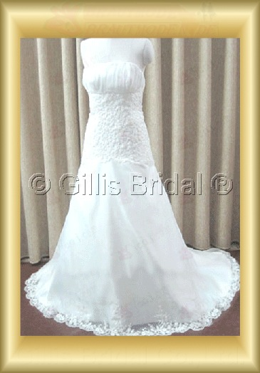 wedding dress bridal gown Strapless Applique appliqued appliques Exquisite 100223