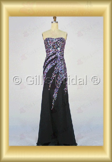 bridal gown evening Prom Strapless Gorgeous floor-length Sequins bud silk Exquisite 100317
