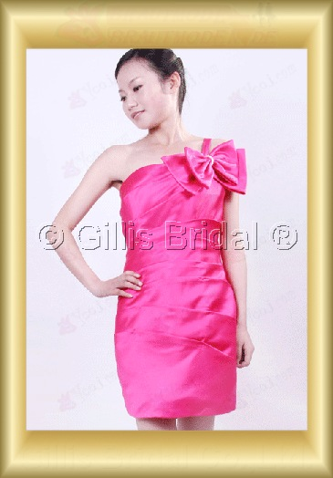 bridesmaid Prom Bowknot Bows One-shoulder Knee length pleated ruffle Fold romantic 100373