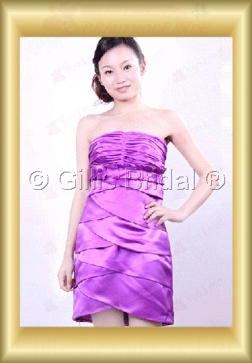 bridesmaid Knee length pleated ruffle Fold Exquisite 100381