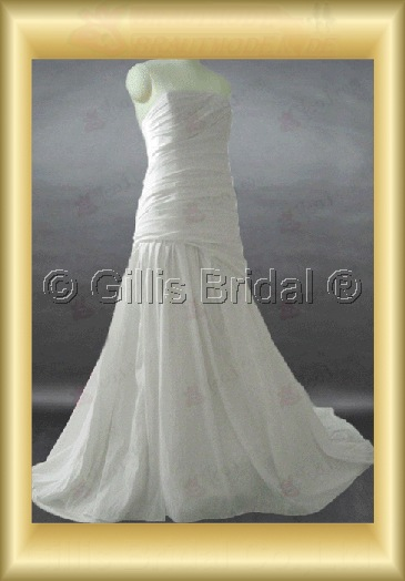 wedding dress bridal gown Strapless pleated ruffle Fold Sweep Brush Exquisite 100422