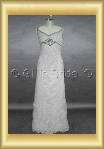 wedding dress bridal gown Beading embroidery Spaghetti strap Gorgeous floor-length Exquisite 100426