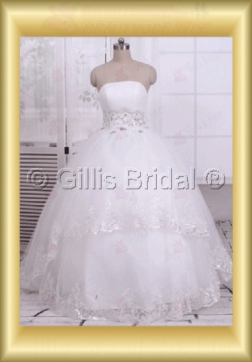 wedding dress bridal gown Beading embroidery Gorgeous floor-length Exquisite 100514