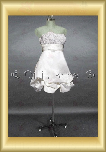 Wholesale Chiffon Strapless Neckline with Empire A line Short Style Summer Beach Wedding Gown - Sold by Gillis Bridal Co., Ltd. http://www.supplierdress.com/ http://www.dress.bz/ [ supplierdress@gmail.com ] Any Size and Colors available Any Gillis Bridal