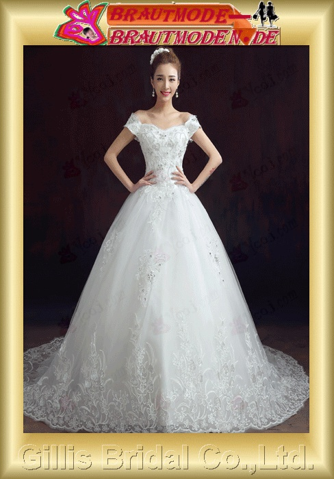 Beading embroidery Gorgeous floor-length pleated ruffle Fold Exquisite wedding dress 100554