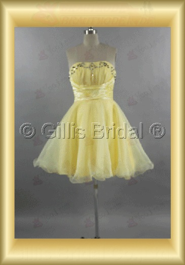 bridesmaid Quinceanera Strapless Knee length pleated ruffle Fold Exquisite 100584