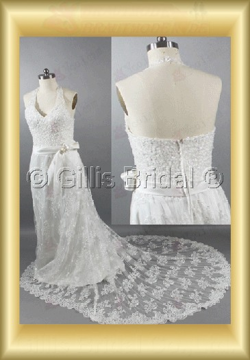 Halter Bowknot Bows lace Monarch Royal Exquisite wedding dress bridal gown 100694
