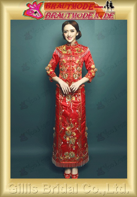 gillis2751 Retro Chinese bride ethnic toast service Xiu Wo clothing Long Fenggong wedding Qipao new wedding dress