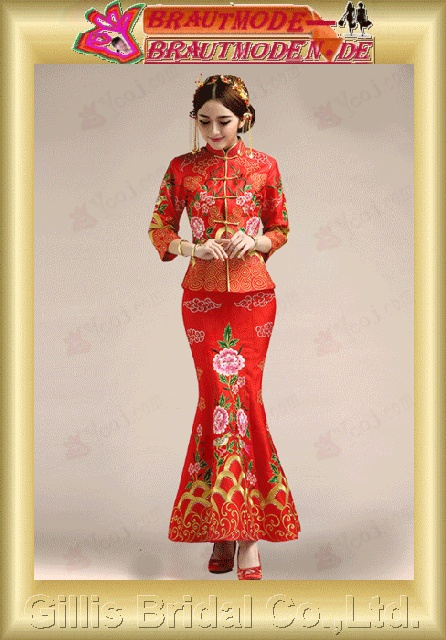 gillis2752 Bridal toast spring short Slim fish wedding wedding Chinese dress red cheongsam summer
