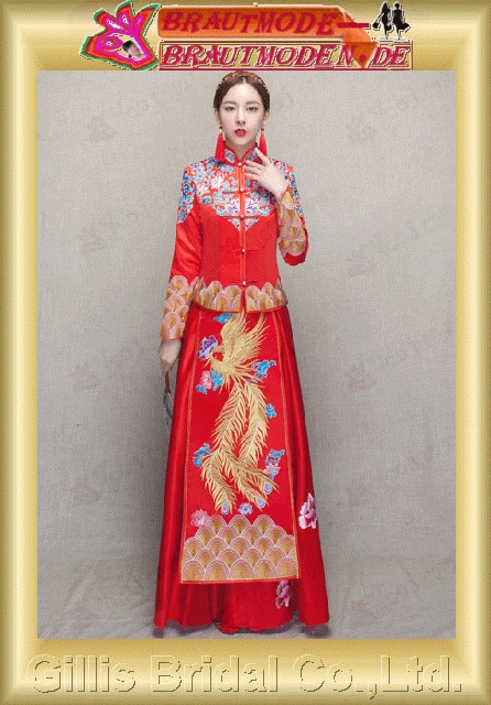 gillis2753 Xiu Wo clothing bridal dress wedding dress the new autumn and winter wedding Longfeng coat Chinese wedding dress toast dress women