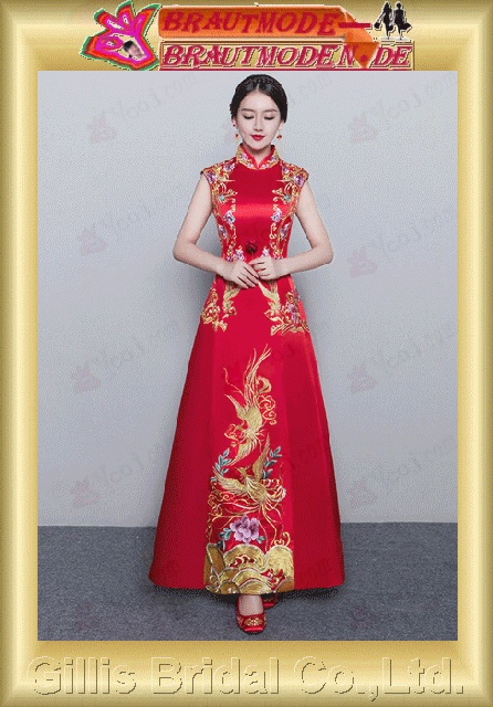 gillis2754 Bridal cheongsam toast clothes wedding embroidery show Wo Chinese - style dress evening banquet long paragraph