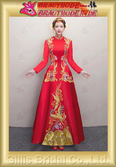 gillis2755 Bridal cheongsam toast clothes wedding embroidery show Wo Chinese - style dress evening banquet long paragraph