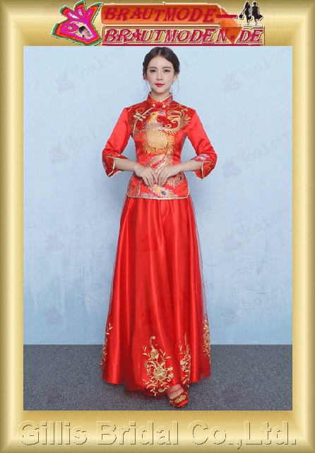 gillis2905 Show Wo Chinese - style bridal gown wedding wedding toast service dress cheongsam retro wedding dress winter wedding cheongsam