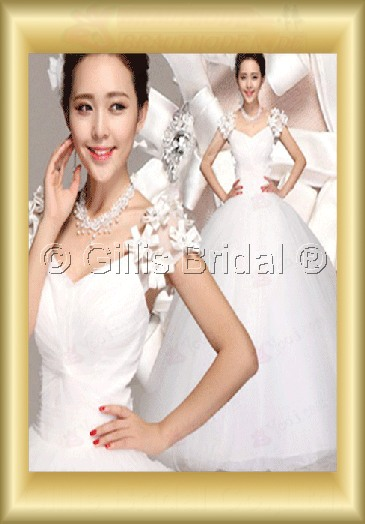Organza pleated ruffle Fold Flower Off-the-shoulder Floor-length Exquisite 3500