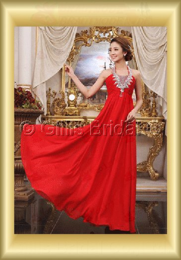 Chiffon pleated ruffle Fold beads Embroidery beaded Beading embroidery Halter Floor-length A-line Exquisite 3632