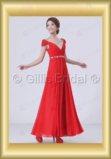 Chiffon pleated ruffle Fold beads Embroidery beaded Beading embroidery Off-the-shoulder Floor-length A-line Exquisite 3634