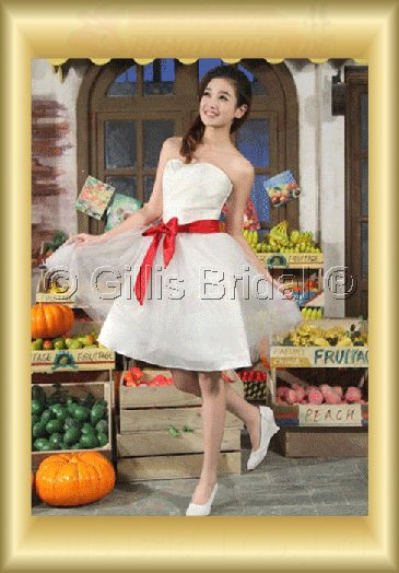 Organza pleated ruffle Fold Bowknot Bows Knee length A-line Simple 3637