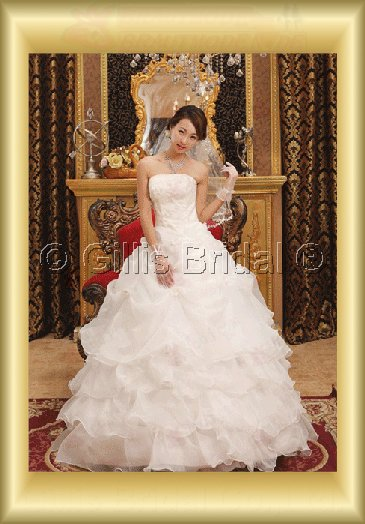 Organza pleated ruffle Fold beads Embroidery beaded Beading embroidery strapless Floor-length A-line Exquisite 3760