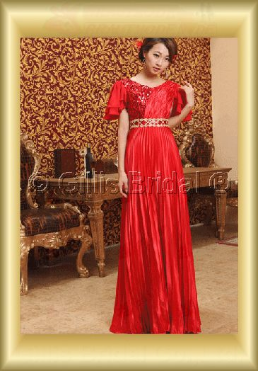 Taffeta pleated ruffle Fold beads Embroidery beaded Beading embroidery sleeves Floor-length Exquisite 3764