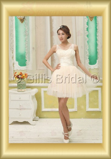 Organza pleated ruffle Fold beads Embroidery beaded Beading embroidery Off-the-shoulder Knee-length A-line Exquisite 3781