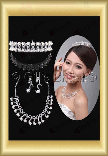Crown Necklace Wedding Jewelry Sets Wedding Accessories 3901