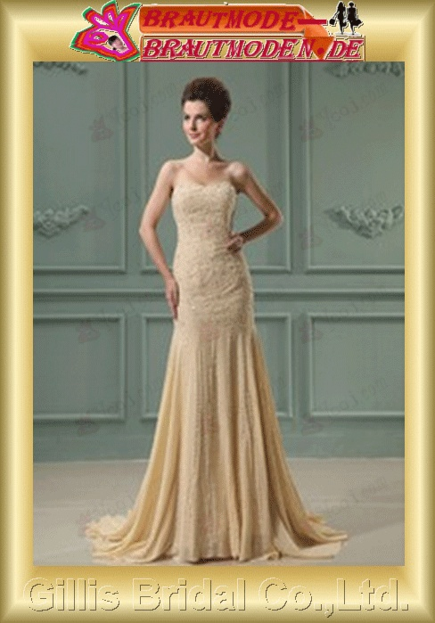 wedding dress bridal gown evening Beading embroidery lace Strapless Chiffon beads Embroidery beaded Beading embroidery Zip strapless Sweep Brush Court Mermaid mermaid Exquisite romantic elegant Colors As shown in figure Champagne 800074