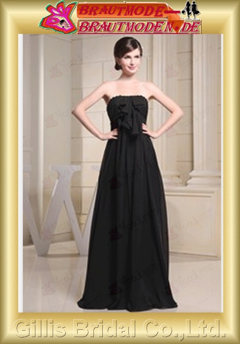 dresses a-line ruffle Black evening Bowknot Bows Strapless Gorgeous floor-length gillis800079