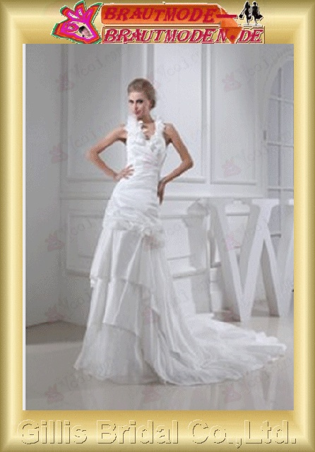 Taffeta pleated ruffle Fold Flouncing floating tablets Handcraft flowers Handmade Flower Halter Off-the-shoulder Sweep Brush Monarch Royal A-line Simple Exquisite elegant modest elegant A-line bridal gowns A-line wedding dresses ruffle White gillis800357