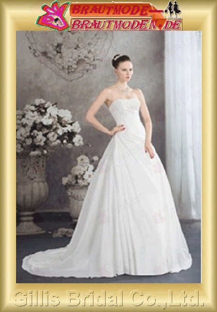 bandage A-line Exquisite Simple elegant modest elegant A-line bridal gowns A-line wedding dresses Strapless Wedding Dresses Strapless bridal gowns ruffle White 800420