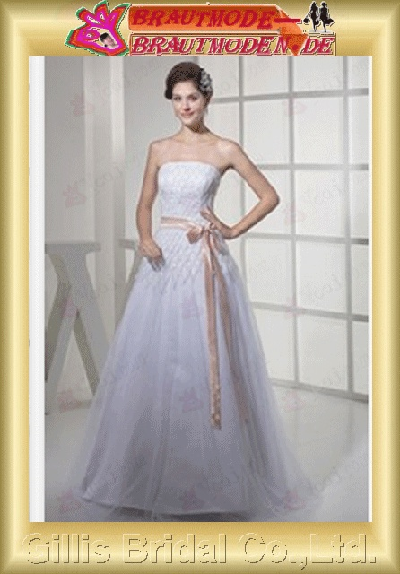Taffeta Tulle Zip strapless Floor-length A-line Simple Exquisite elegant modest elegant A-line bridal gowns A-line wedding dresses Strapless Wedding Dresses Strapless bridal gowns White 800489