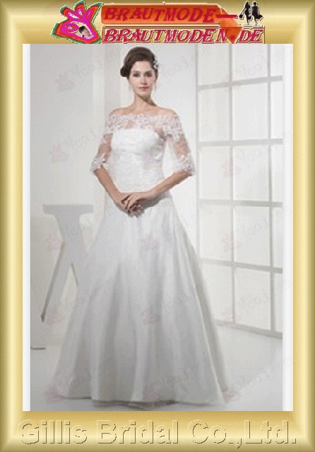 Charmeuse lace Applique appliqued appliques Zip Bateall Seventh Sleeve Off-the-shoulder Floor-length A-line Simple Exquisite Fashion elegant A-line bridal gowns A-line wedding dresses White 800490