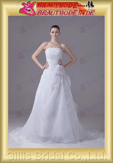 Organza pleated ruffle Fold Vertically Draped Handcraft flowers Handmade Flower strapless Monarch Royal A-line backless Open back Simple elegant A-line bridal gowns A-line wedding dresses Strapless Wedding Dresses Strapless bridal gowns White 800495